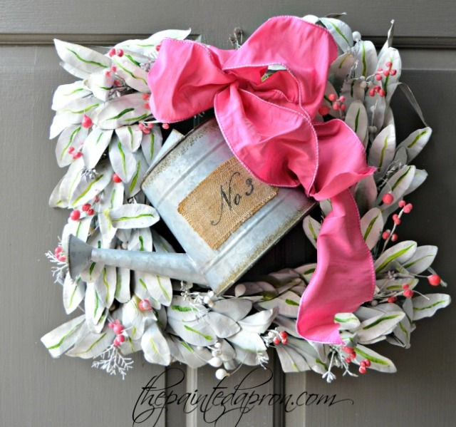 spring watering can wreath