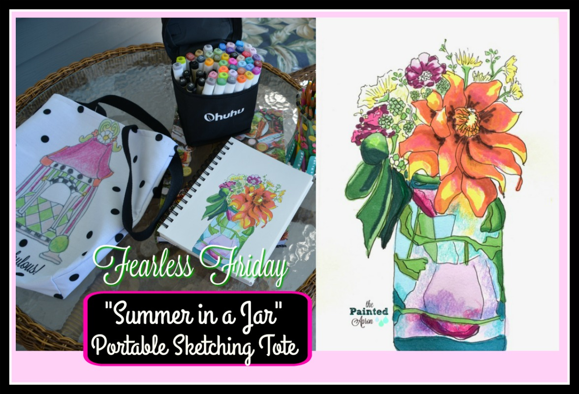 portable sketching tote & summer in a jar drawing