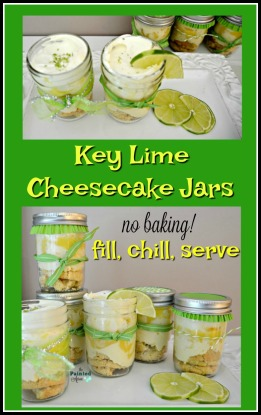 key lime cheesecake jars, fill, chill, serve