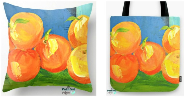 Peach Pie pillow and tote