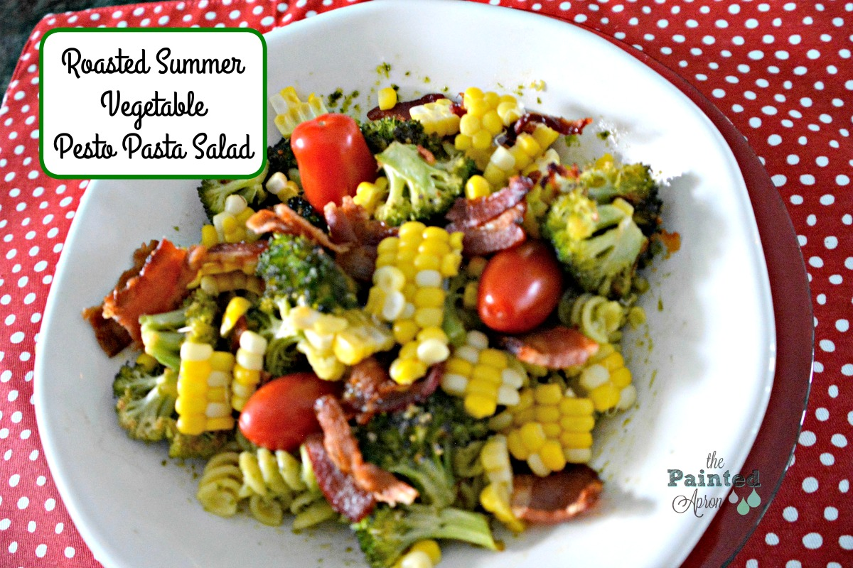 Roasted Summer Vegetable Pesto Pasta Salad