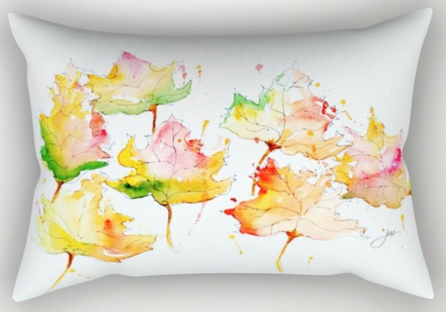 rectangular leaves of change pillow
