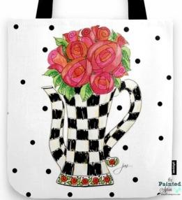 teapot roses tote