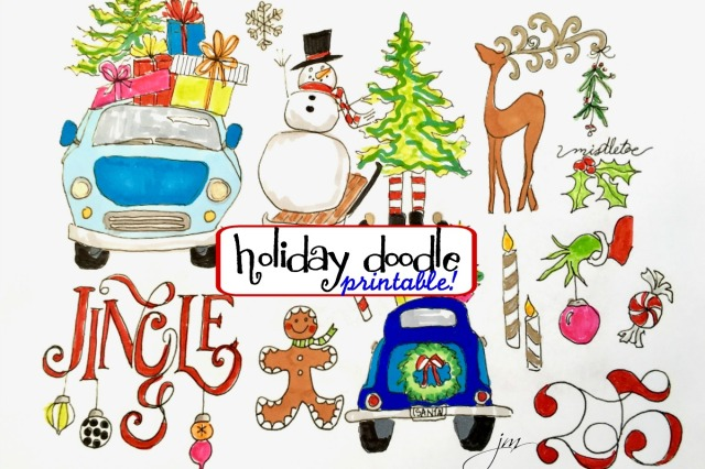 holiday doodle printable