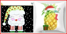 santa carry all & pineapple pillow