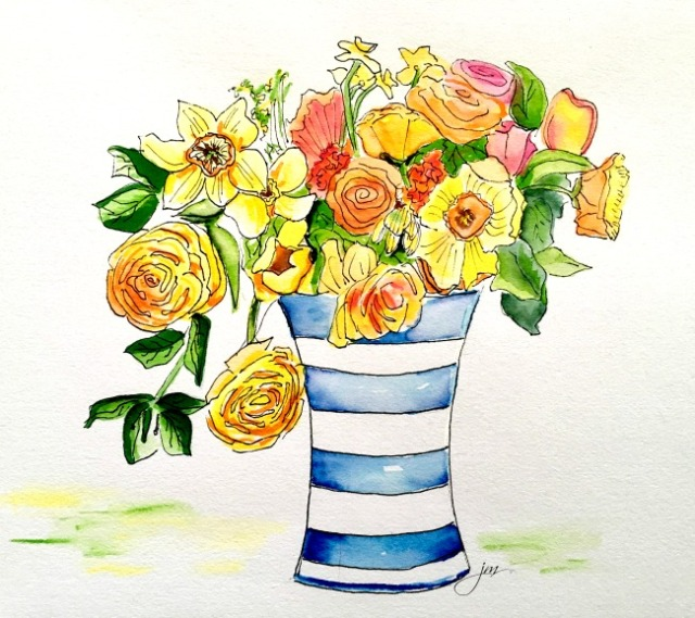 flowers in a blue striped vase