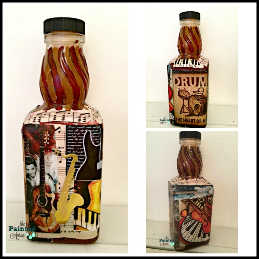 musical bottle collage