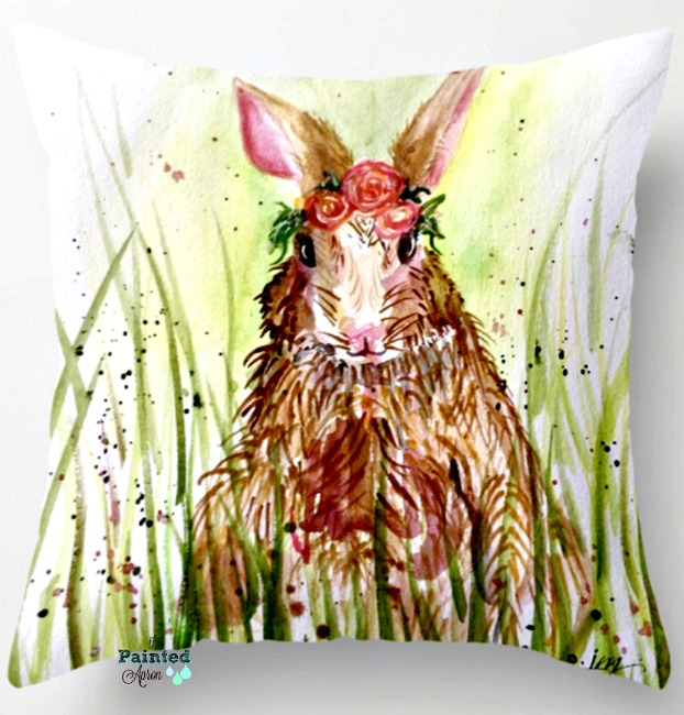 Rosie Rabbit throw pillow