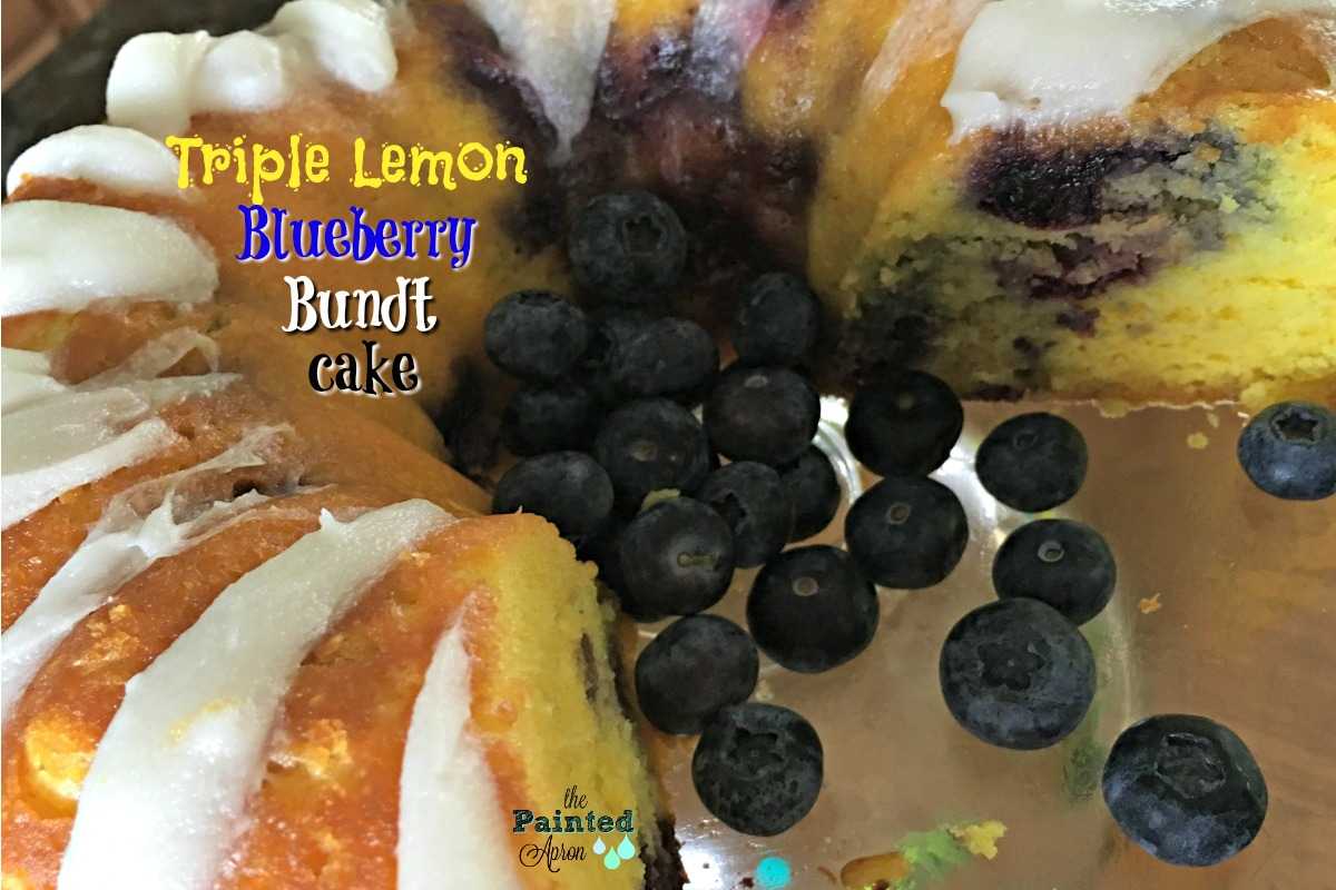 Triple lemon blueberry bundt cake thepaintedapron.com