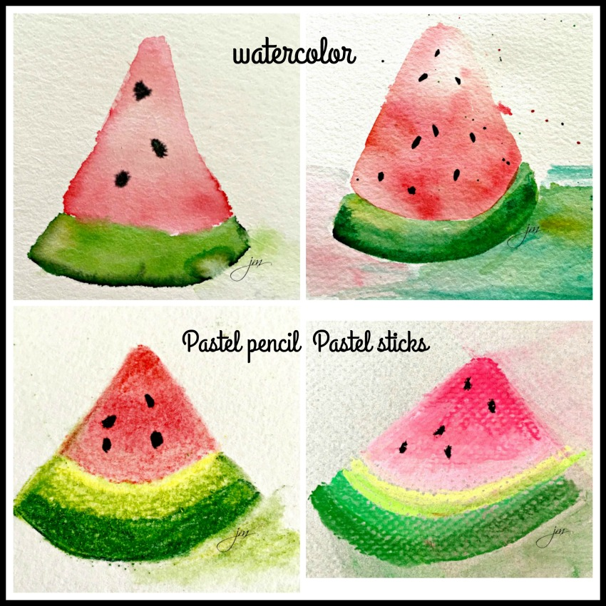 watermelon in watercolor and pastel