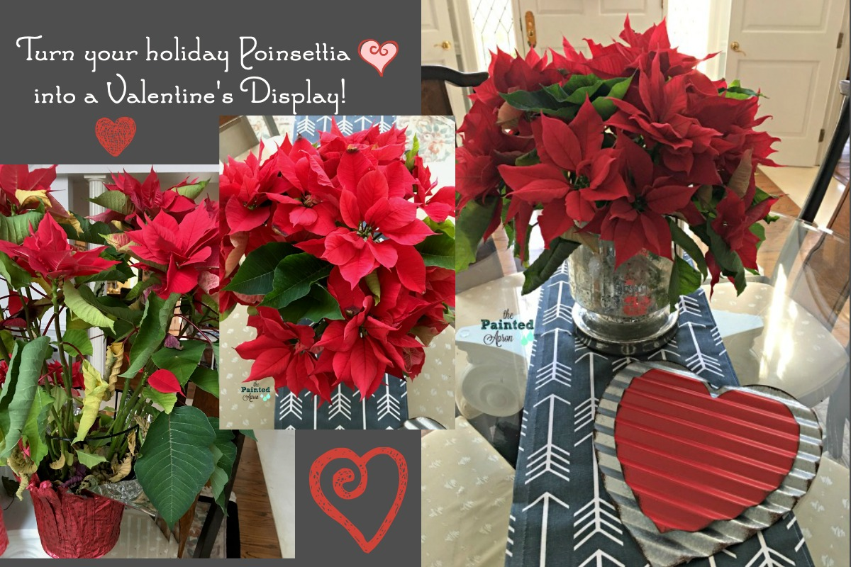 Home Decor Poinsettia Arrangement For Valentines Day The